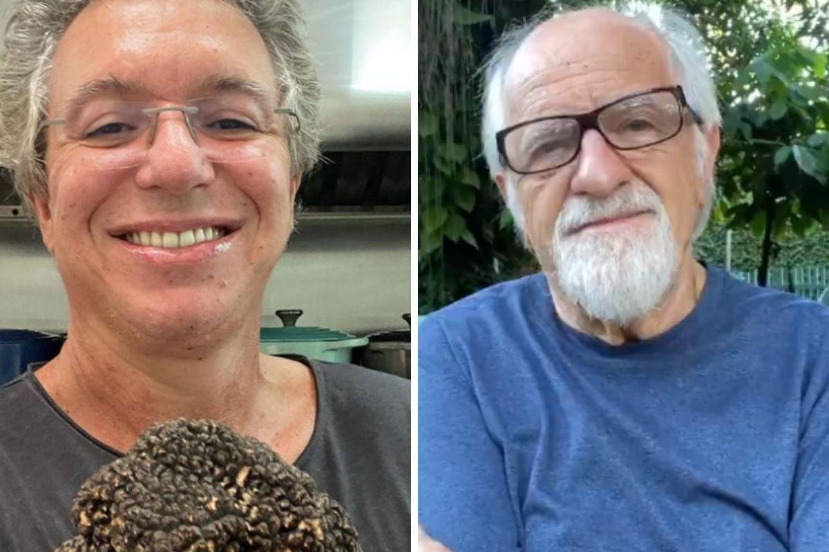 Boninho sorrindo e Ary Fontoura de óculos - montagem