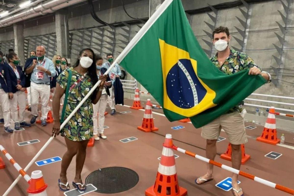 Bruninho e Ketlyn Quadros na Abertura dos Jogos Olímpicos