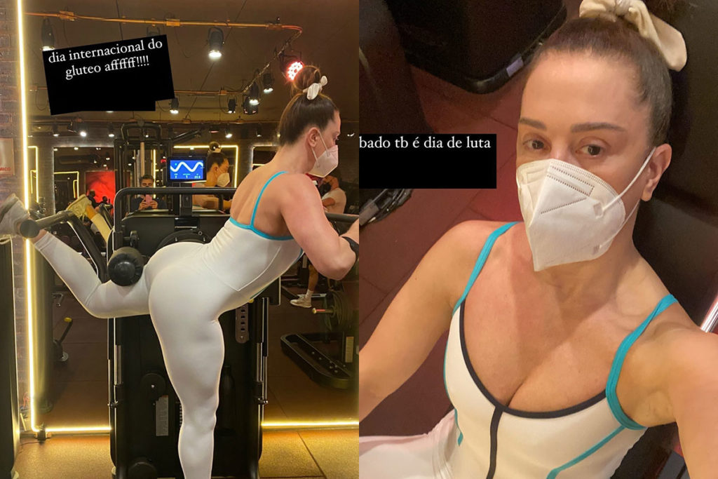 Claudia Raia treinando com look justo