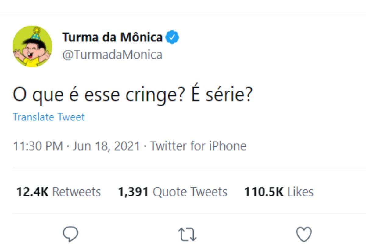"""print de tweet da turma da mônica com a frase """"o que é esse cringe? é série?"""""""