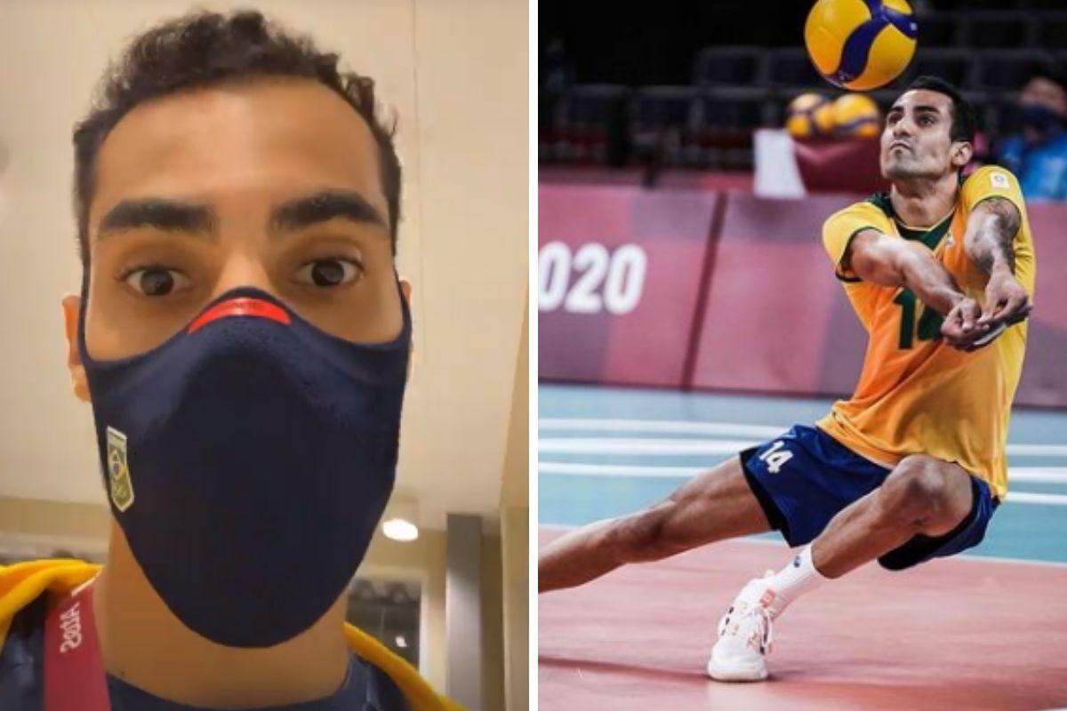 Douglas gravando vídeo e jogando vôlei