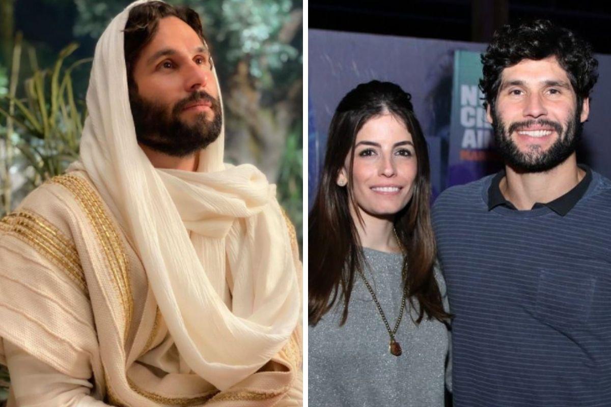 Dudu Azevedo como Jesus e com a ex-esposa