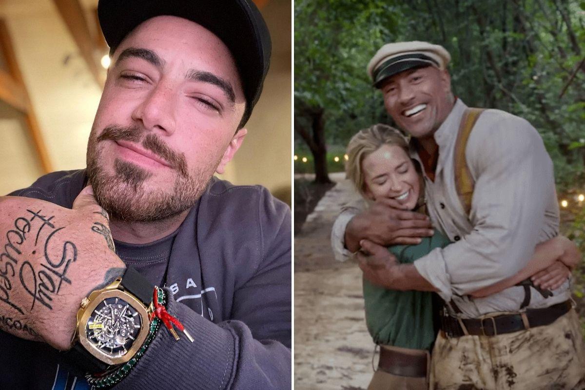 Fotomontagem com selfie de Felipe Titto e foto de EMily Blunt e Dwayne Johnson abraçados