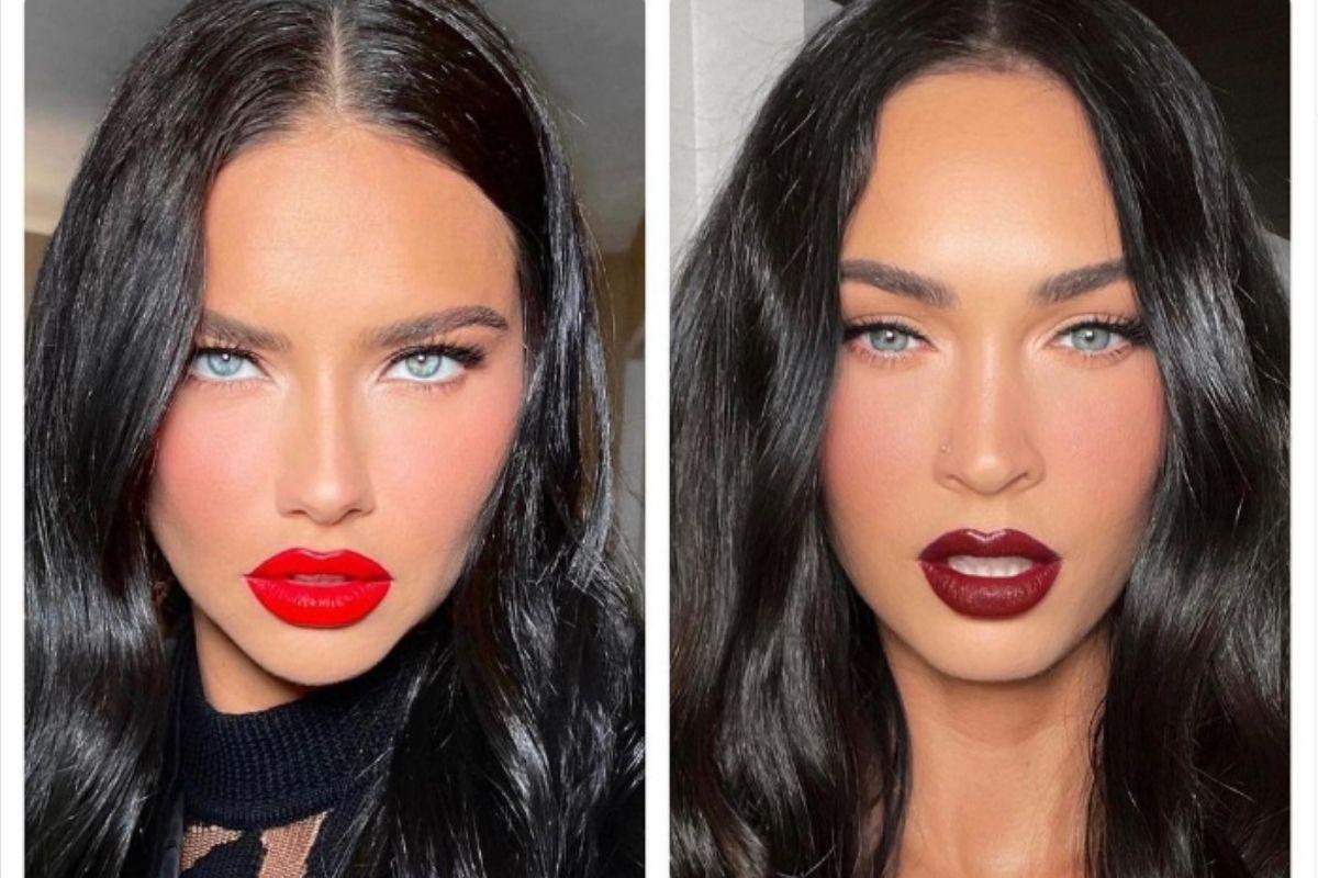 Fotomontagem com retratos de Adriana Lima e Megan Fox lado a lado