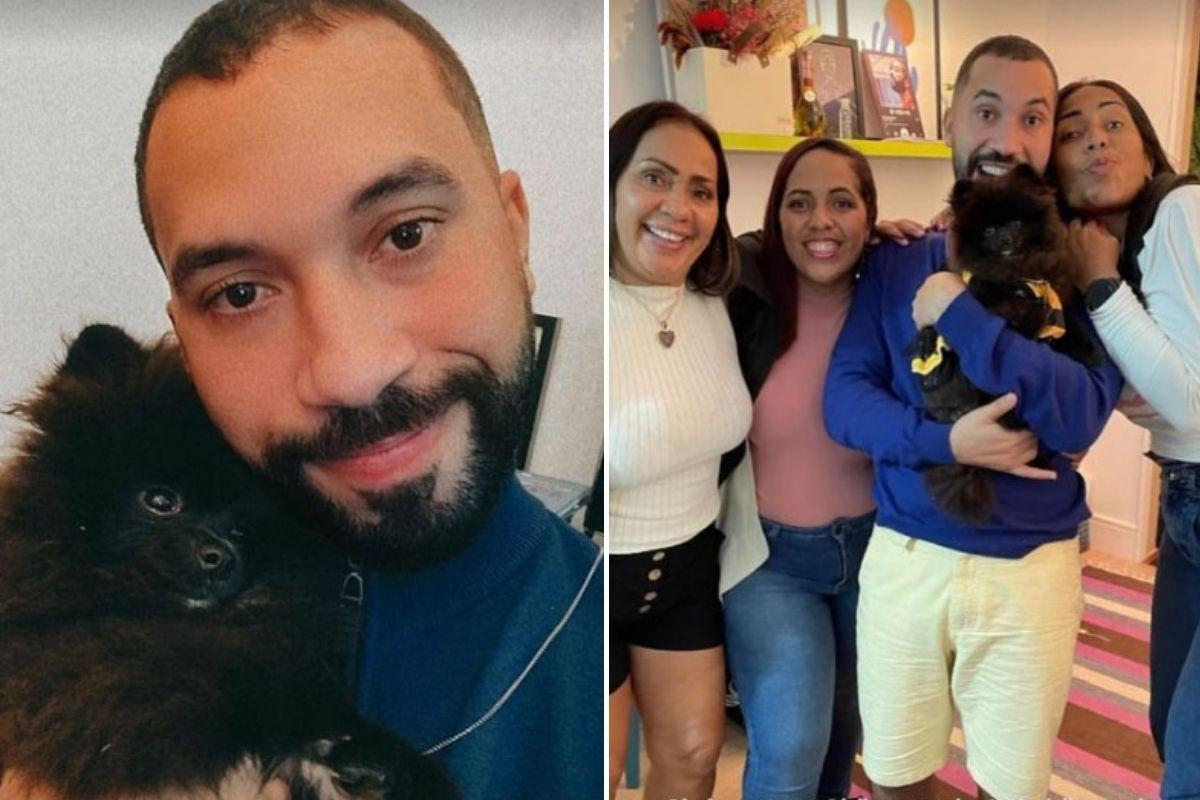 Fotomontagem com selfie de Gil e foto com a família e a cachorrinha