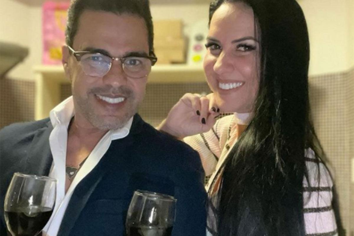 Graciele Lacerda toma vinho com Zezé Di Camargo