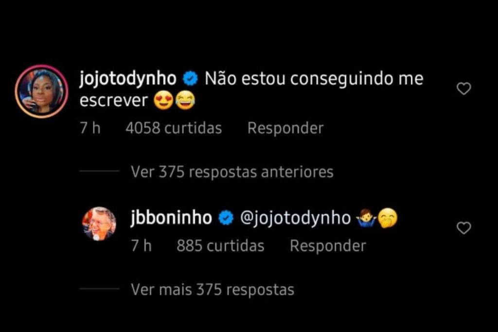 Print da interação entre Jojo Todynho e Boninho