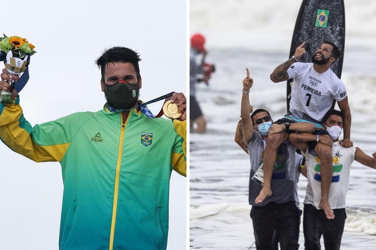 Ítalo Ferreira com a medalha e sendo carregado ao sair do mar