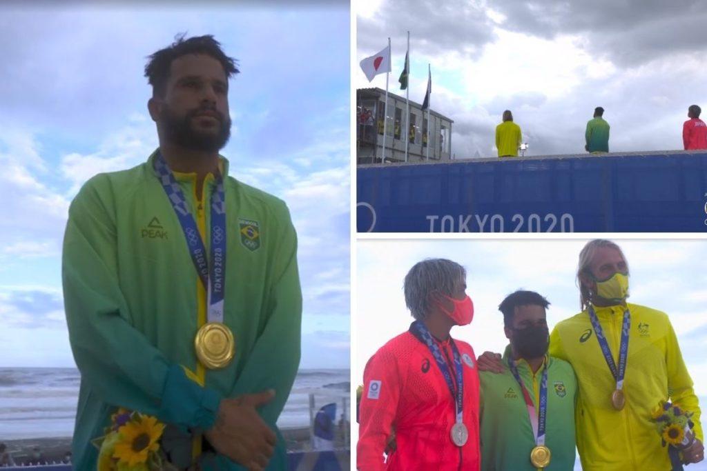 ìtalo Ferreira revebe medalha de ouro montagem
