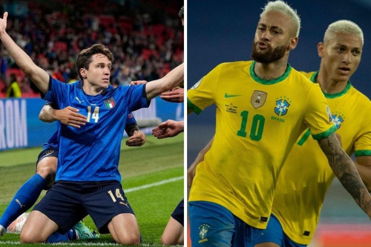 Jogadores da Itália e Neymar com Richarlison, do Brasil