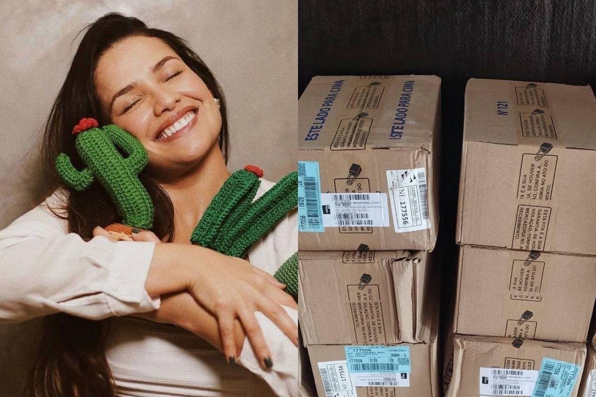 Juliette com caixas de doações para o Acre