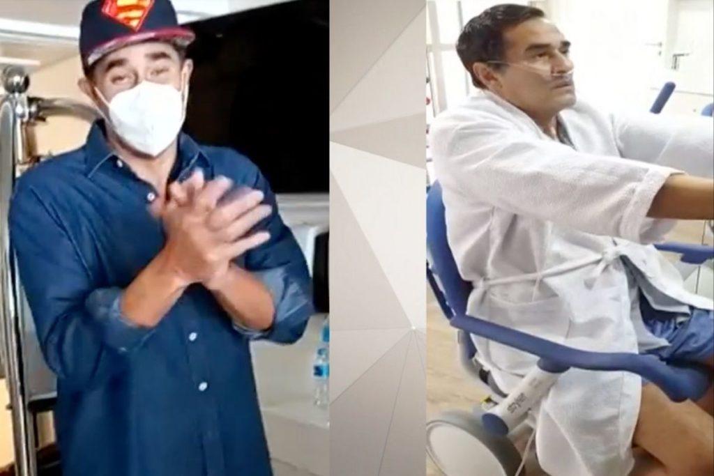 Luciano Szafir em dois momentos: fazendo fisioterapia no hospital e recebendo alta médica após um mês internado