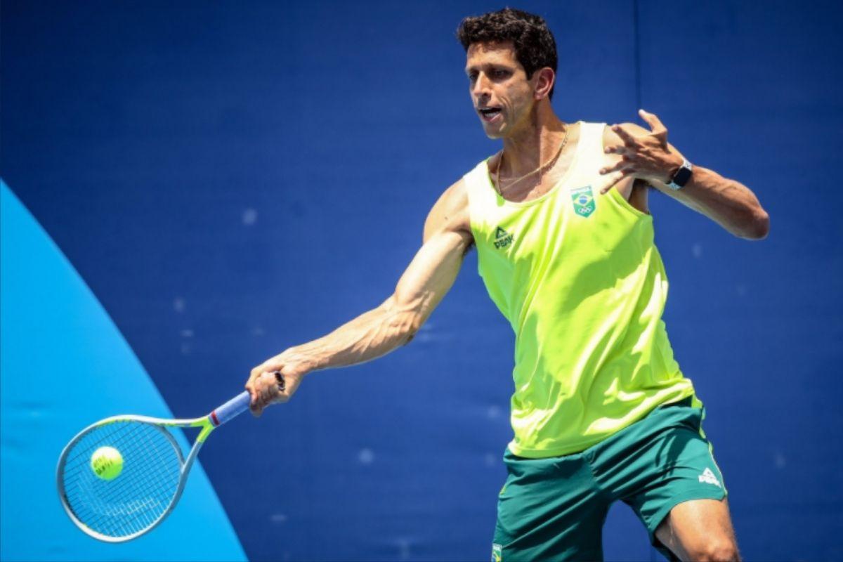 Marcelo Melo durante partida de tênis