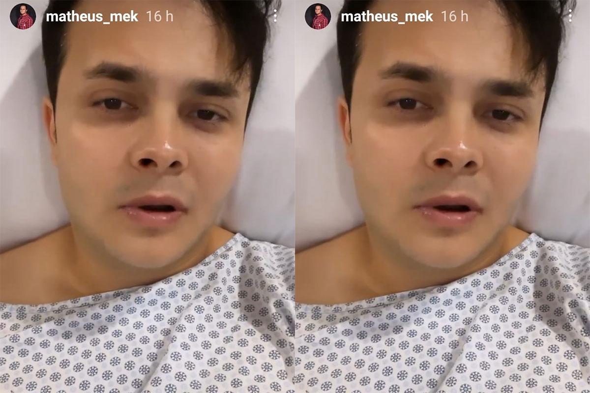 Cantor sertanejo Matheus no leito do hospital