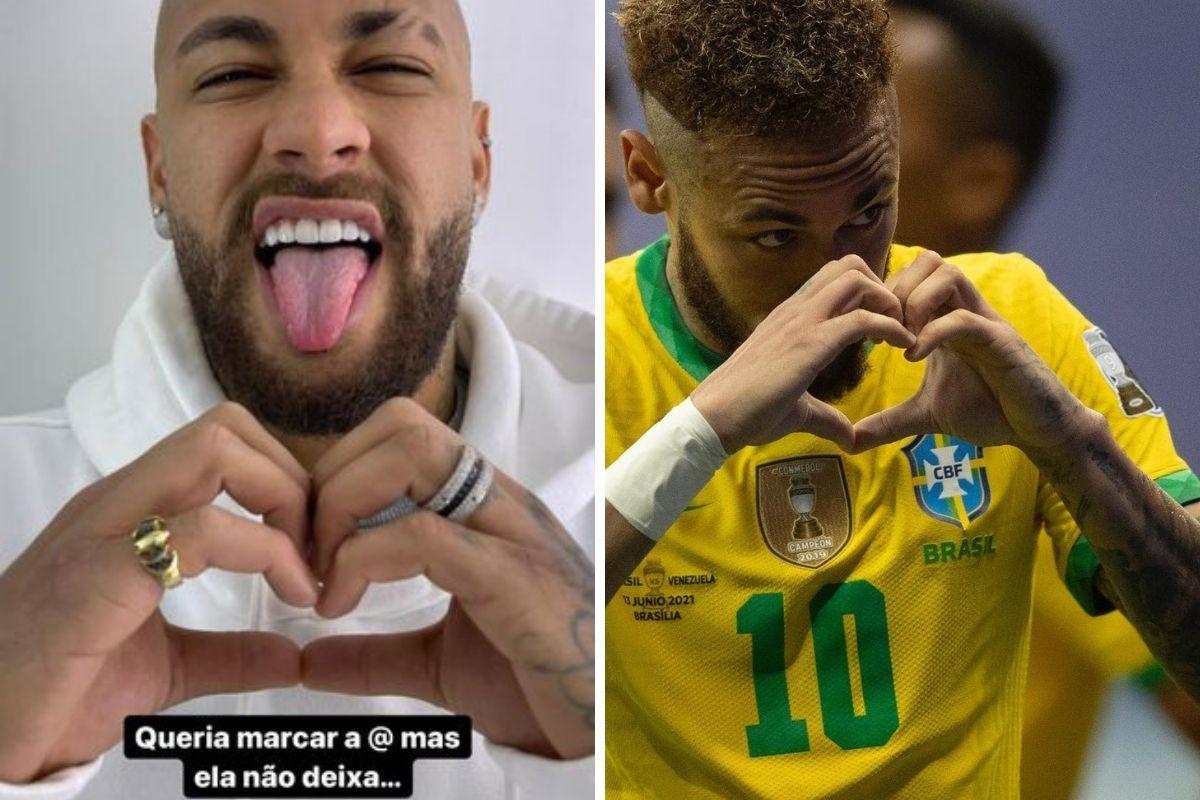 Neymar faz coração com as mãos em duas oportunidades
