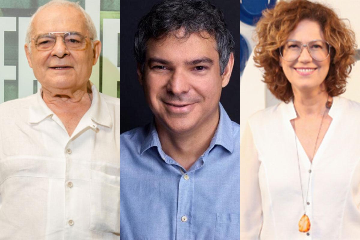 Othon Bastos e Patricia Pillar usam roupas brancas