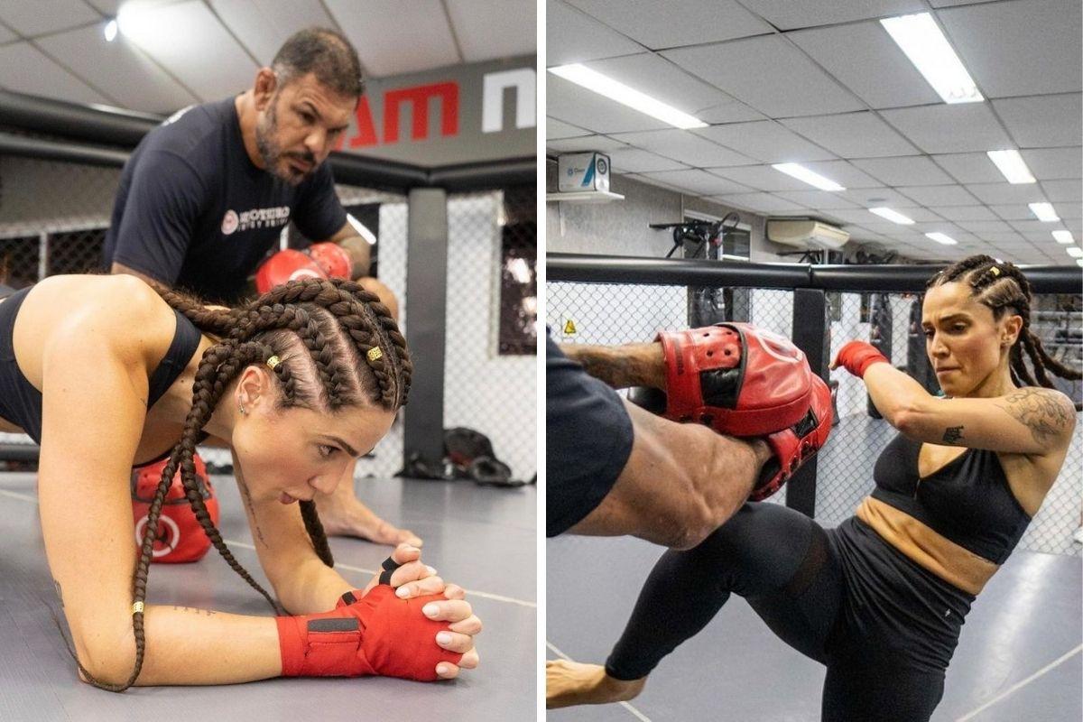 Paula Amorim treinando com Minotauro