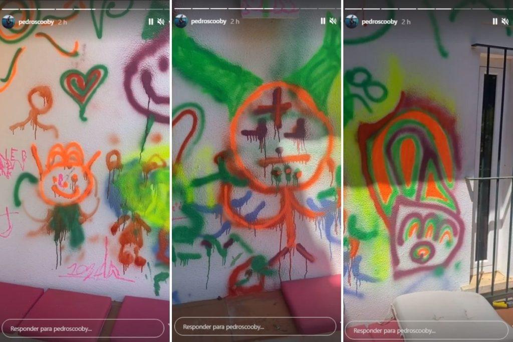 Fotomontagem com prints do Stories de Pedro Scooby, mostrando as artes coloridas dos filhos feitas com tinta spray