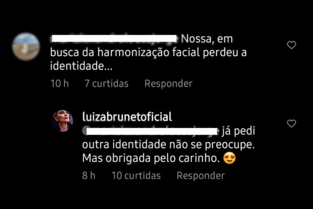 Print de comentário respondido por Luiza Brunet