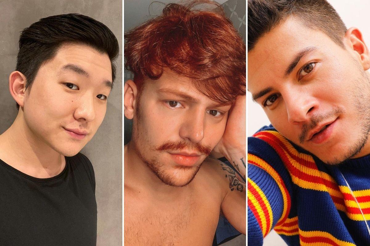 Fotomontagem com selfies de Pyong Lee, Saulo Poncio e Arthur Aguiar