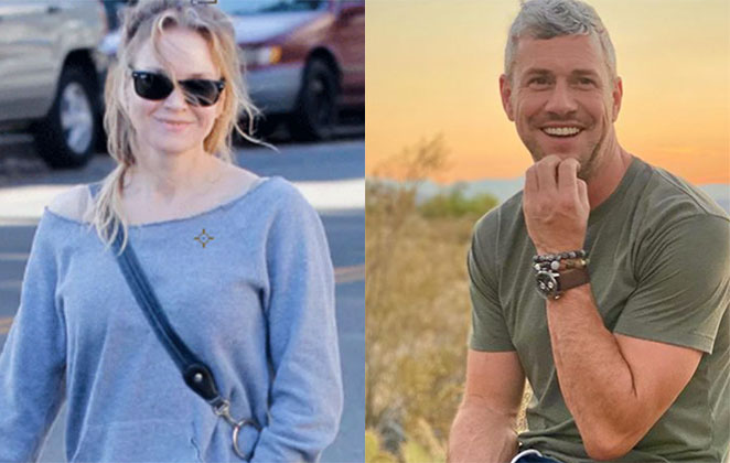 Renée Zellweger passeando de óculos de sol e namorado sentado, segurando o queixo