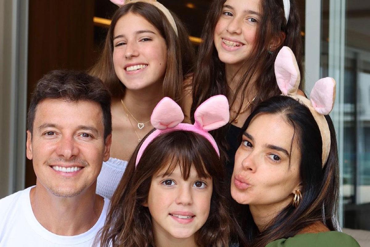 Rodrigo Faro com a esposa Vera Viel e as filhas Clara, Maria e Helena