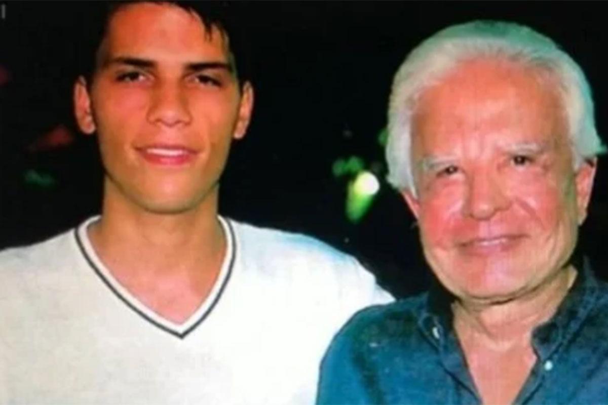 Roger abraçado com o pai Cid Moreira