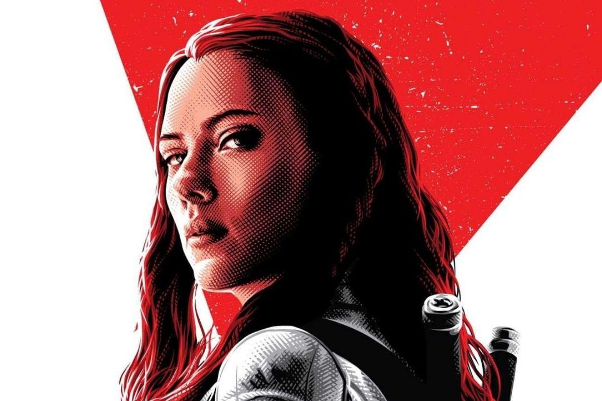 Scarlett Johansson em arte para o pôster do filme Viúva-Negra