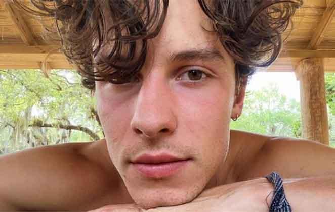 Shawn Mendes foto de rosto com cabelo molhado