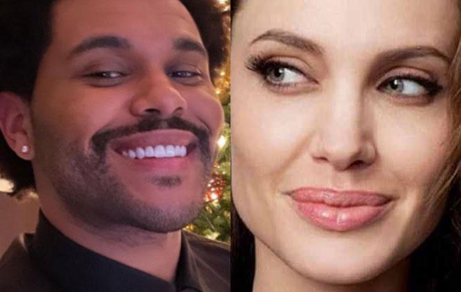 The Weeknd sorridente e Angelina Jolie olhando de lado