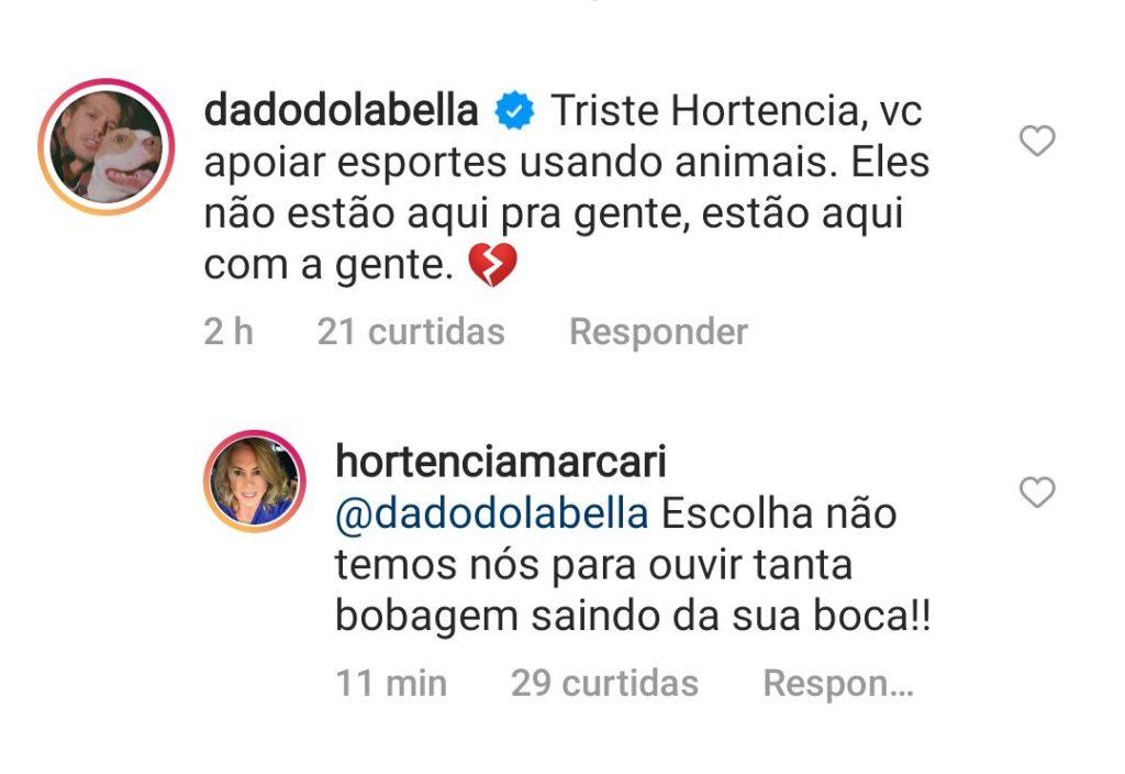 Post de Hortência rebatendo Dado Dolabella
