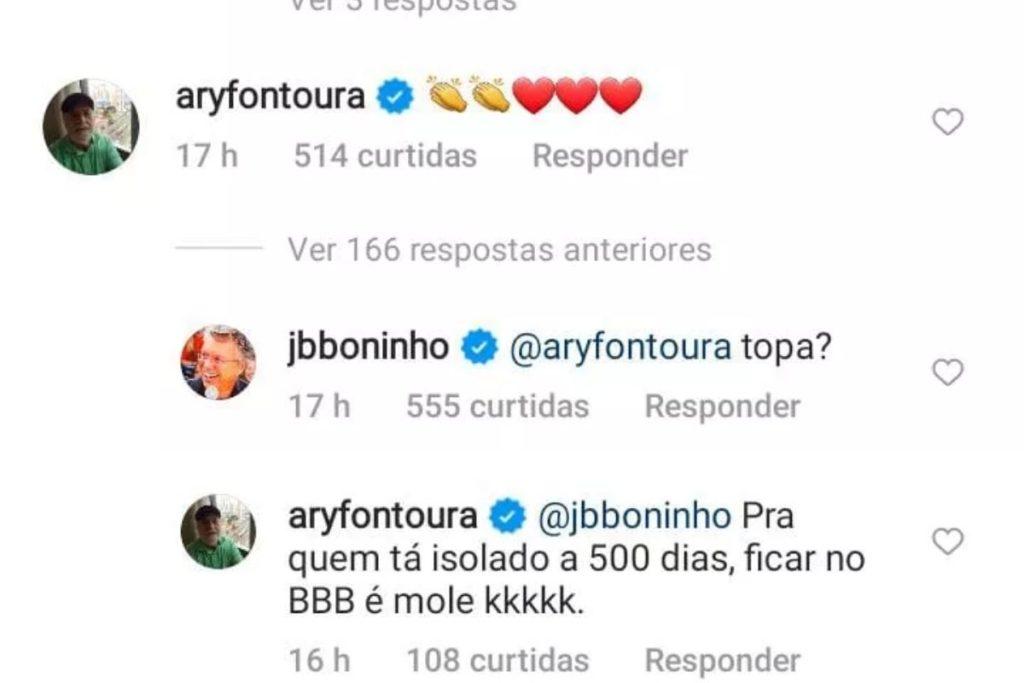 troca de mensagens de Boninho e Ary Fontoura