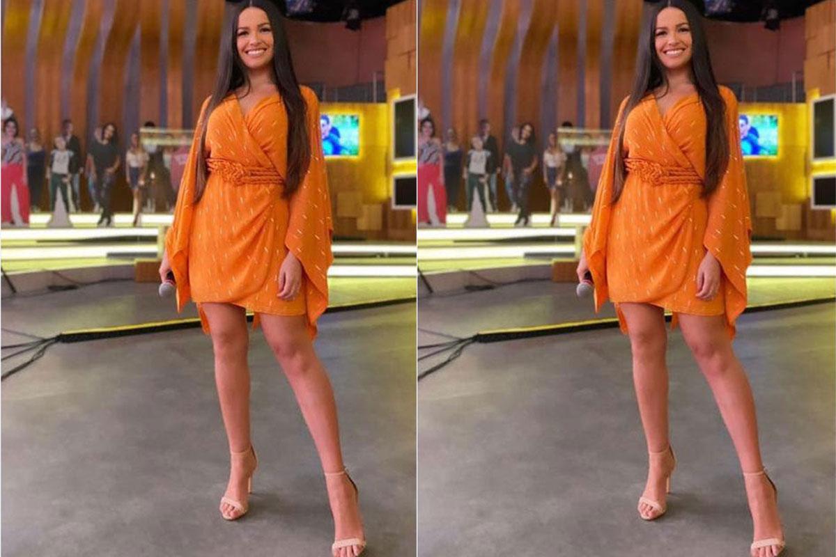 Juliette com look laranja no palco do Encontro com Fátima Bernardes