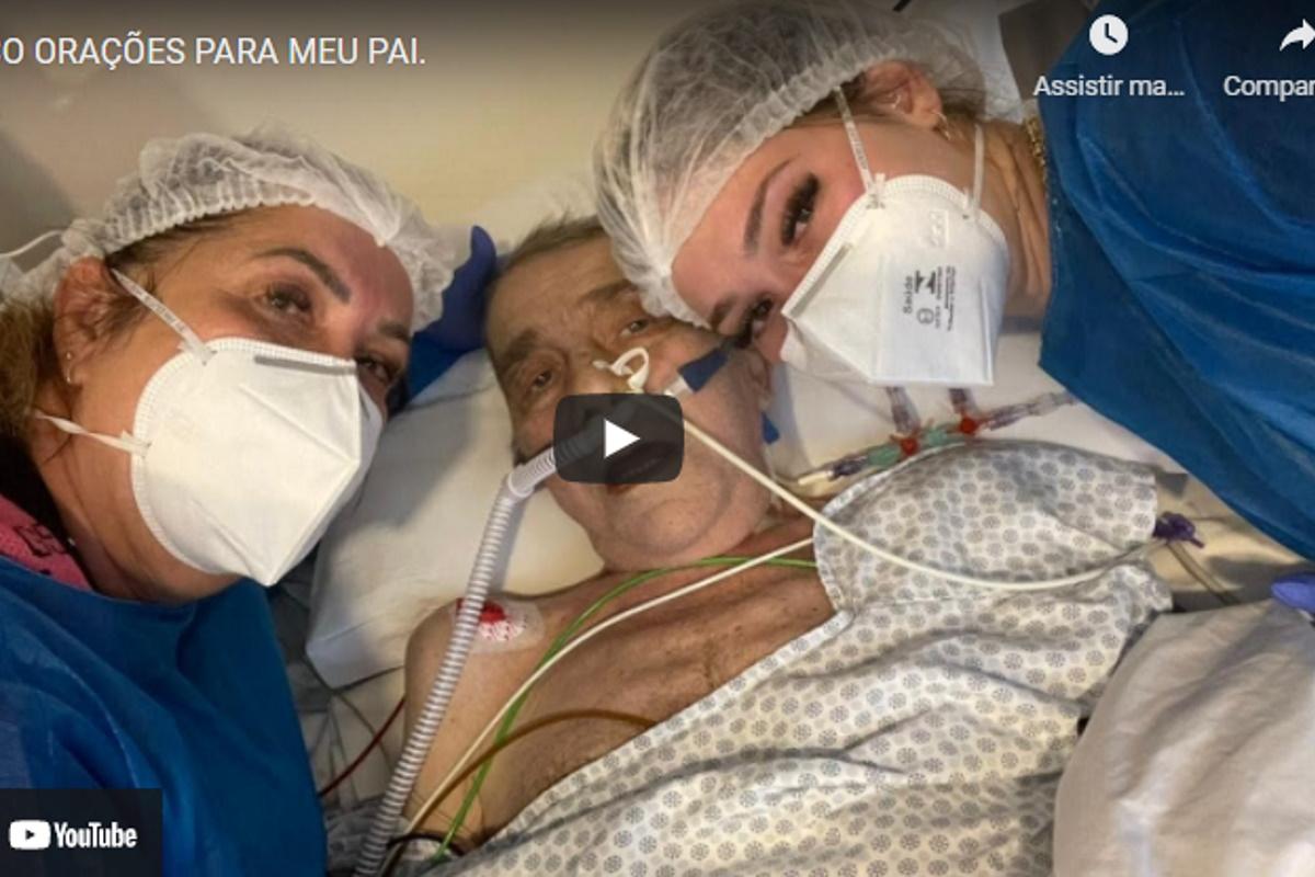 Virginia Fonseca com os pais no hospital