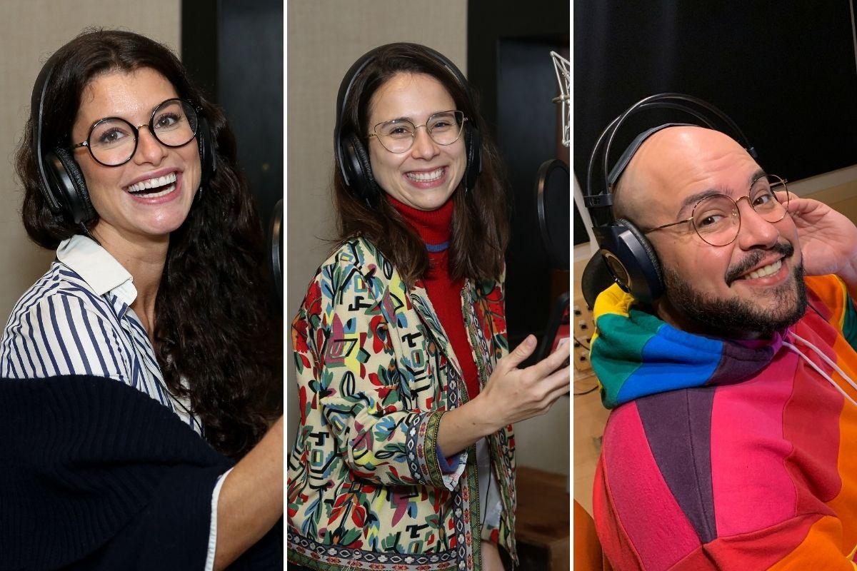 Alinne Moraes- Daphne Bozaski e Tiago Abravanel gravando audiobook