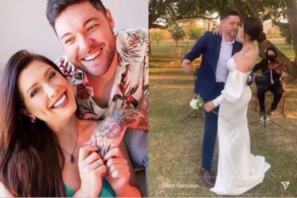 montagem com foto de andressa e nasser e registro do casamento