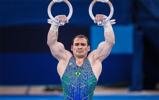 Arthur Zanetti nas argolas, nas Olimpíadas de Tóquio