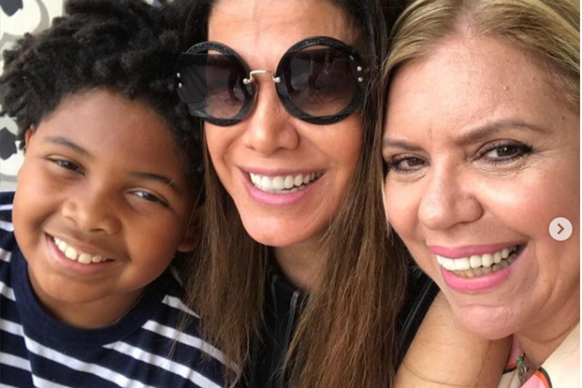 Astrid Fontenelle com filho e Alicinha Cavalcanti