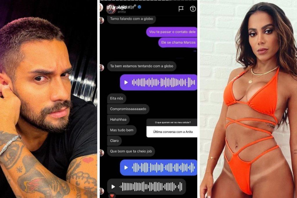 Bil Araújo mostra conversa com Anitta em aplicativo de mensagem