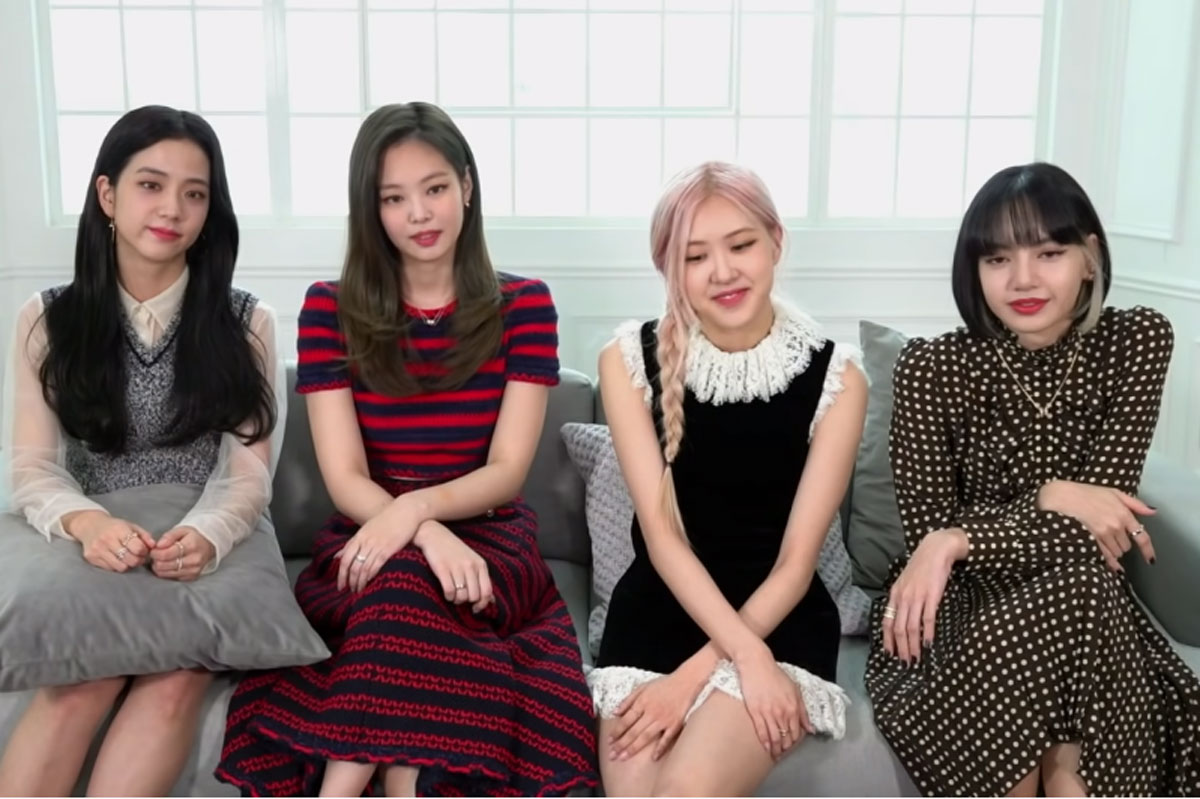 Meninas do Blackpink em entrevista online para o Jimmy Kimmel