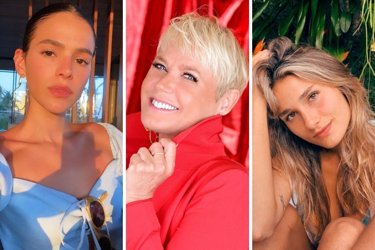 Bruna Marquezine posando, Xuxa sorridente e Sasha fazendo pose