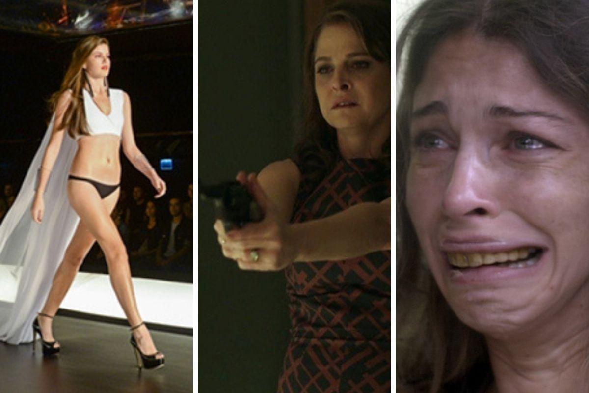 Angel desfilando, Drica Moraes com arma e Larissa com dentes amarelos