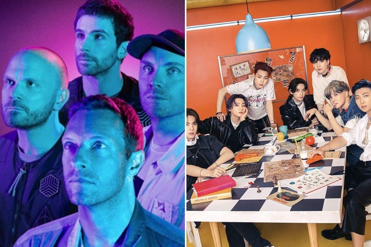 Fotomontagem com cliques de Coldplay e BTS