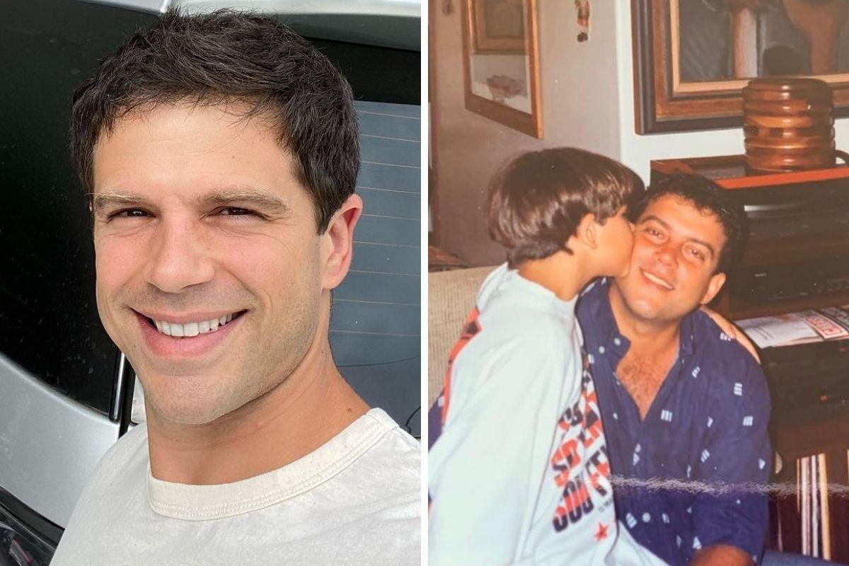 Duda Nagle com o pai na infância