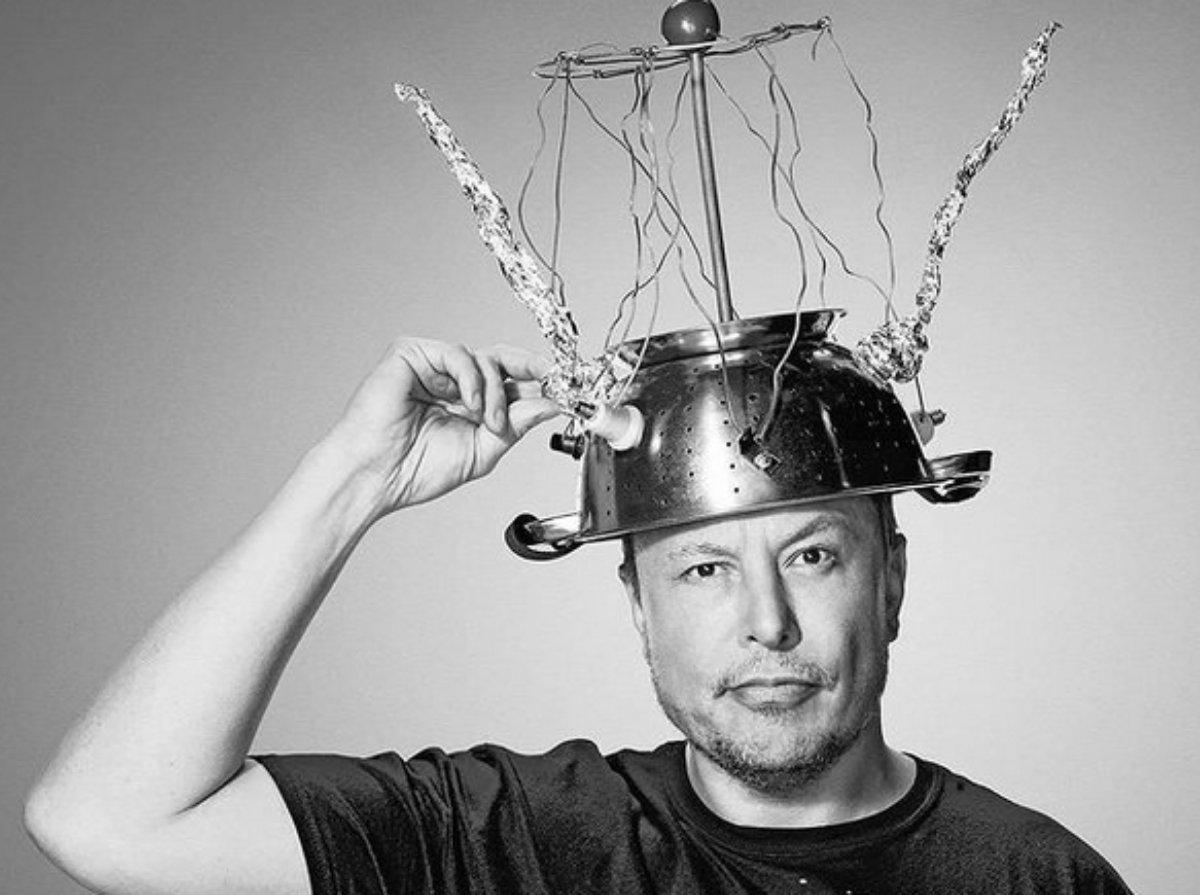Elon Musk, cientista e inventor, foto em preto e branco