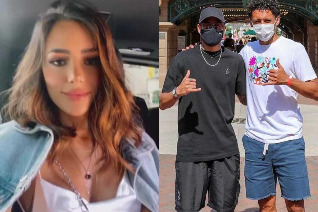 fotomontagem de bruna biancardi no carro e neymar com amigo na disney de paris