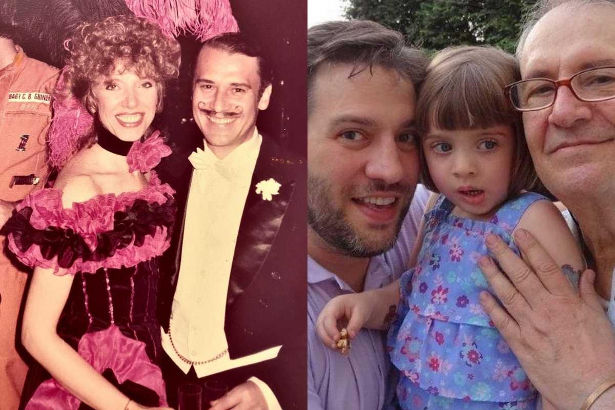 fotomontagem de marilia gabriela e zeca cochrane em uma festa a fantasia e christiano cochrane com o pai e a filha