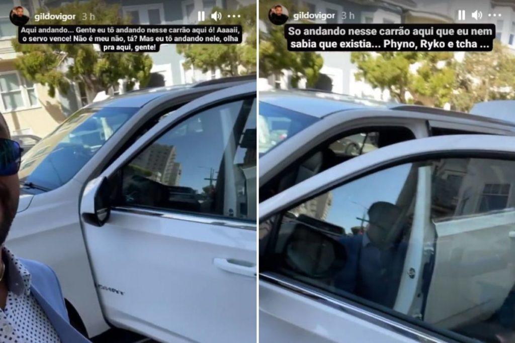 Gil do Vigor mostra carro de luxo que tem usado nos Estados Unidos