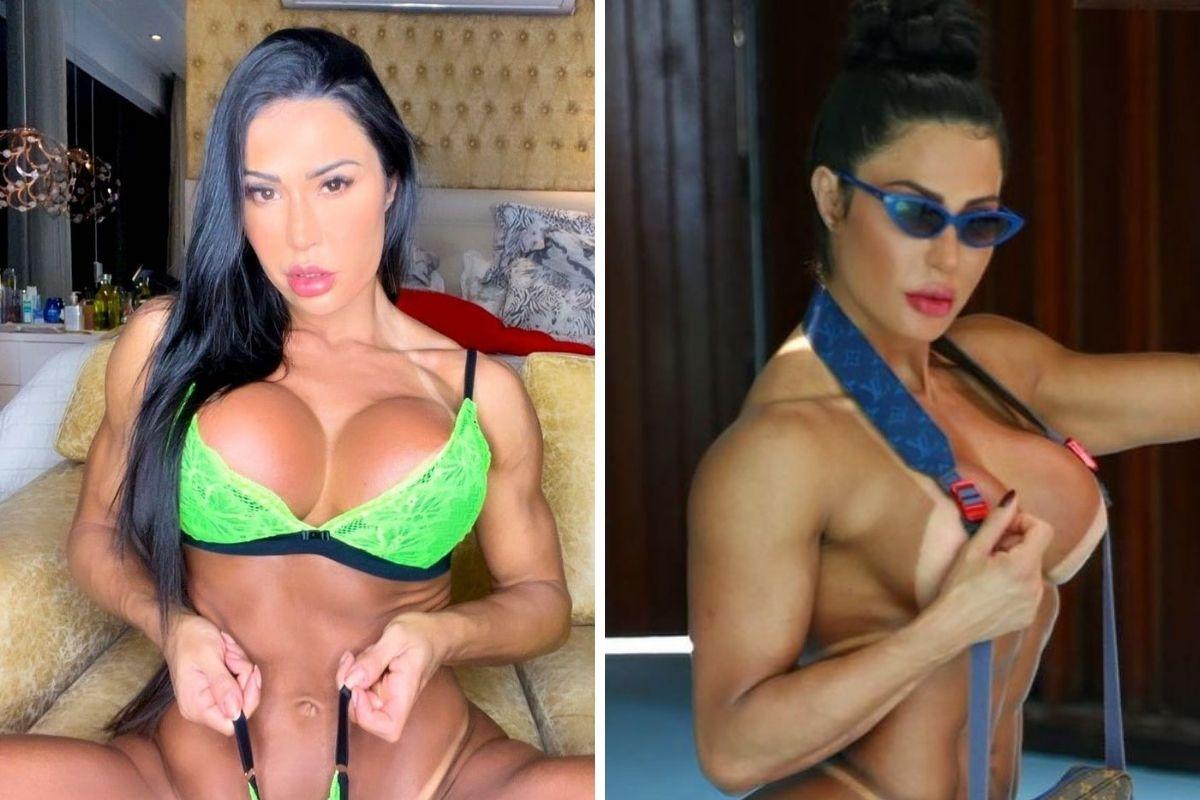 Gracyanne Barbosa de lingerie e quase totalmente nua