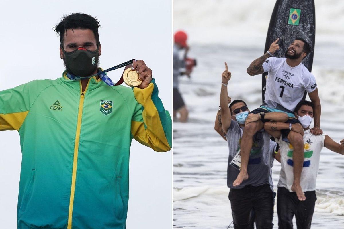 Ítalo Ferreira com medalha de ouro e saindo do mar carregado